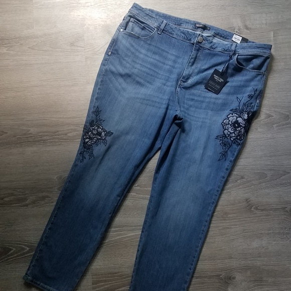 Simply Be Womens Floral Embroidered Slim Leg Jeans